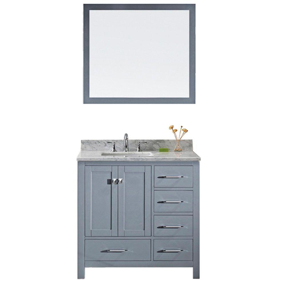 Virtu Usa Caroline Avenue 36 In W Bath Vanity In Gray With Marble Vanity Top In White With Square Basin And Mirror Gs 50036 Wmsq Gr The Home Depot Marble Vanity Tops Single Bathroom 36 inch gray bathroom vanity
