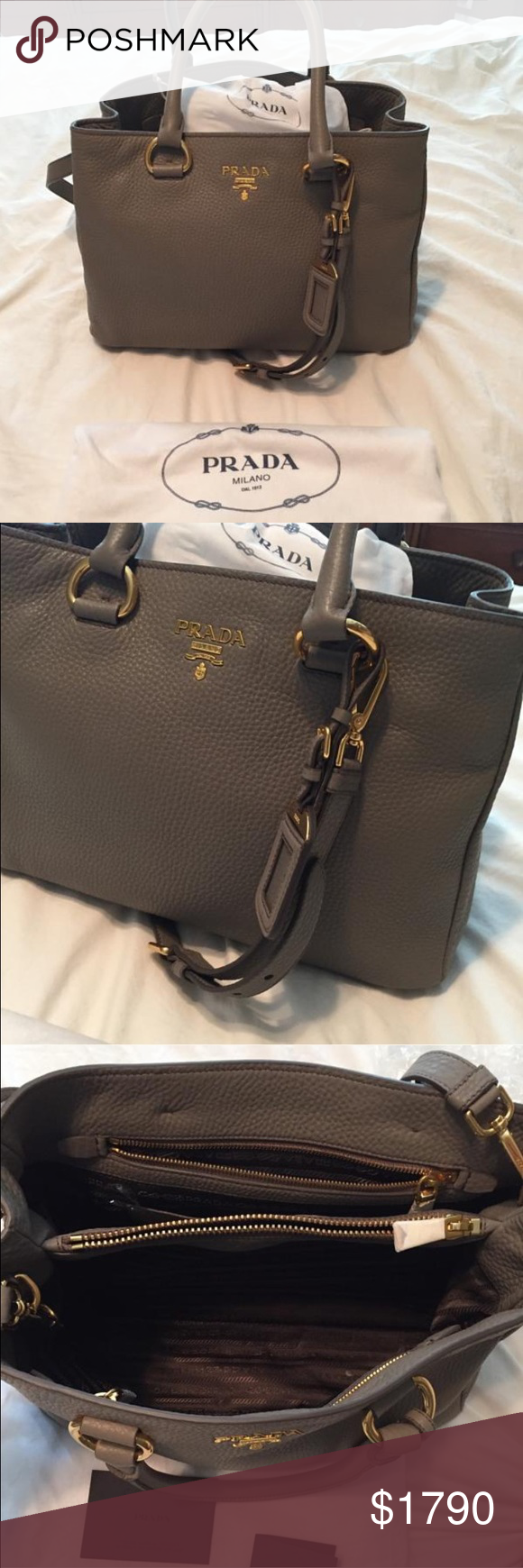 🆕🎀Prada Vito Daino lux double bag Brand new and never used. Soft buttery leather with removable strap. Comes with paperwork and original dustbag. Prada Bags Satchels