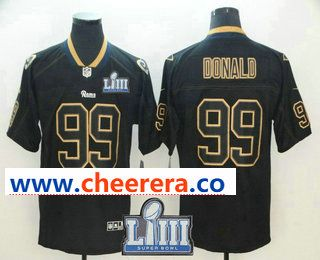 84819ef19 Men s Los Angeles Rams  99 Aaron Donald 2019 Super Bowl LIII Patch Black  Lights Out Color Rush Stitched NFL Nike Limited Jersey