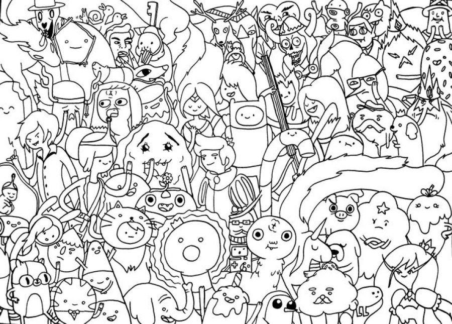 The Abundance Of Characters From Cartoon Network Adventure Time Coloring Paginas Para Colorear De Navidad Hora De Aventuras Anime Dibujo Animado Adventure Time