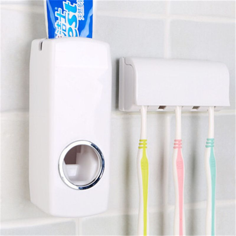 5 Toothbrush Holder Bathroom Wall Mounted Automatic Toothpaste Dispenser