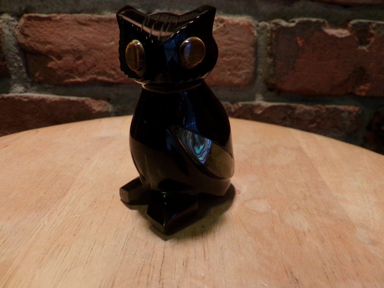 carved obsidian owl figurine black owl figurine owl décor owl