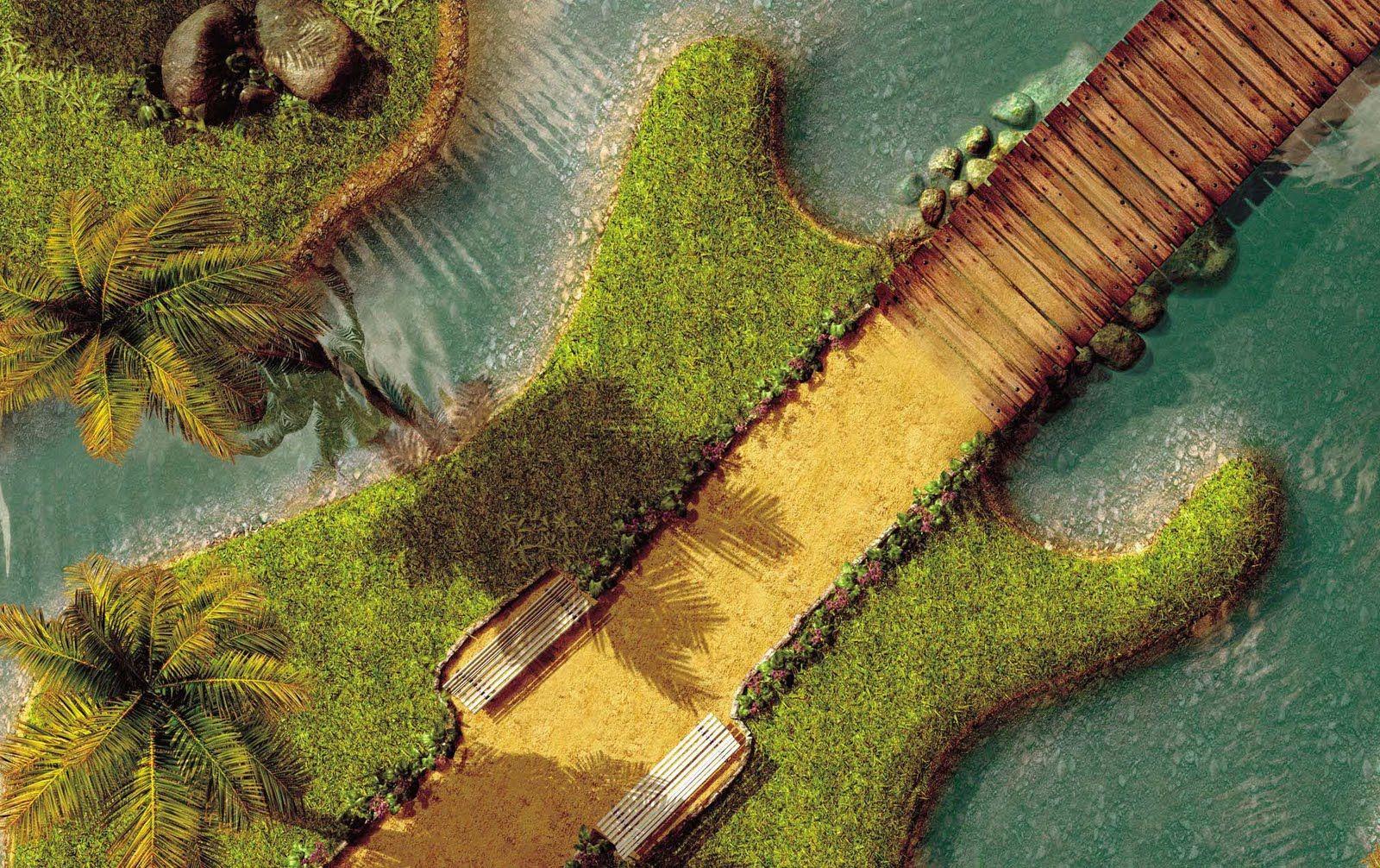 Unique guitar island hd wallpaper for desktop mobile for Purchase wallpaper