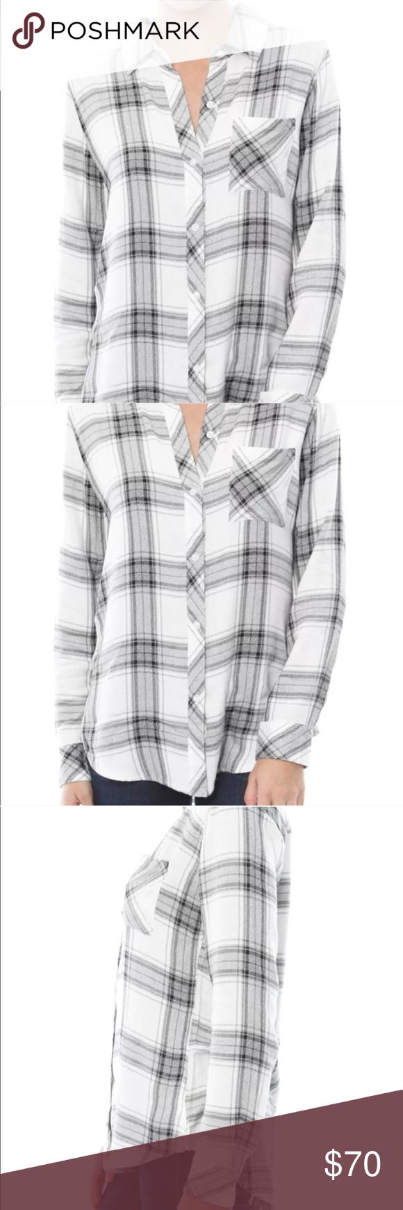 Flannel shirt xs  Rails Hunter Plaid Shirt in WhiteAsh Gray XS