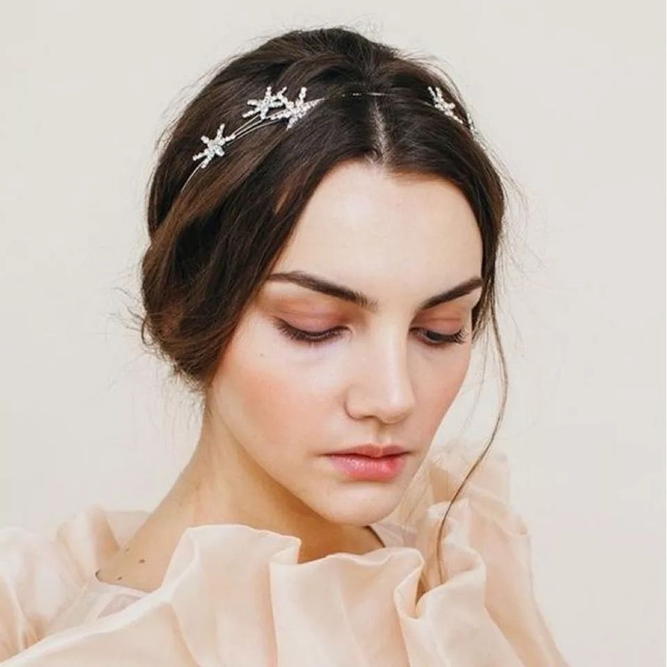 Space bridal hair piece Bridesmaid gift Sparkles rose gold stars hair combs Wedding jewelry set Bride celestial headpiece
