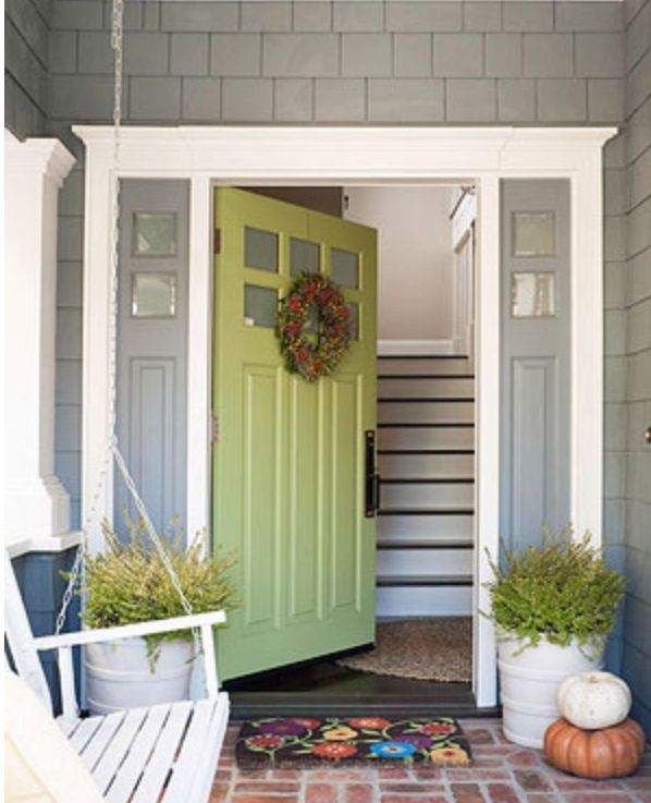 About the color of our siding. White trim & this green looks great!