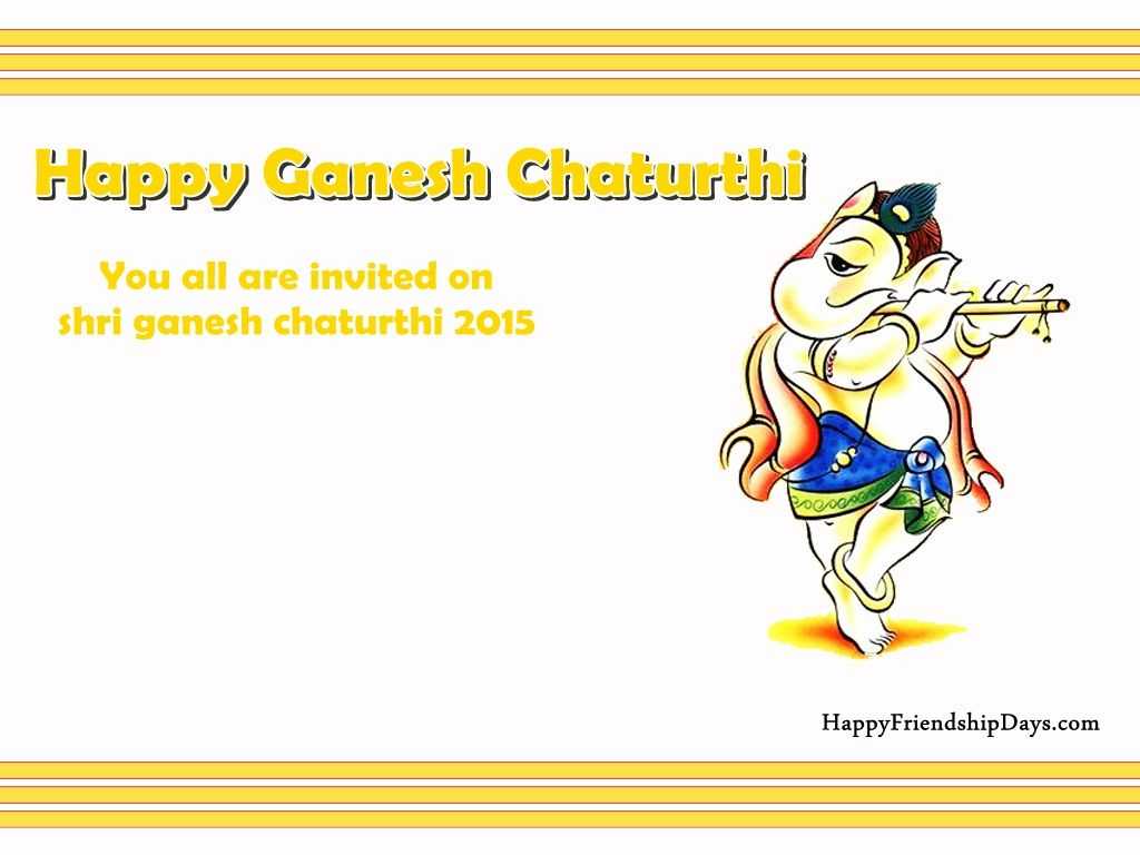 Lovely Collection Of Happy Ganesh Chaturthi Invitation Card With Message