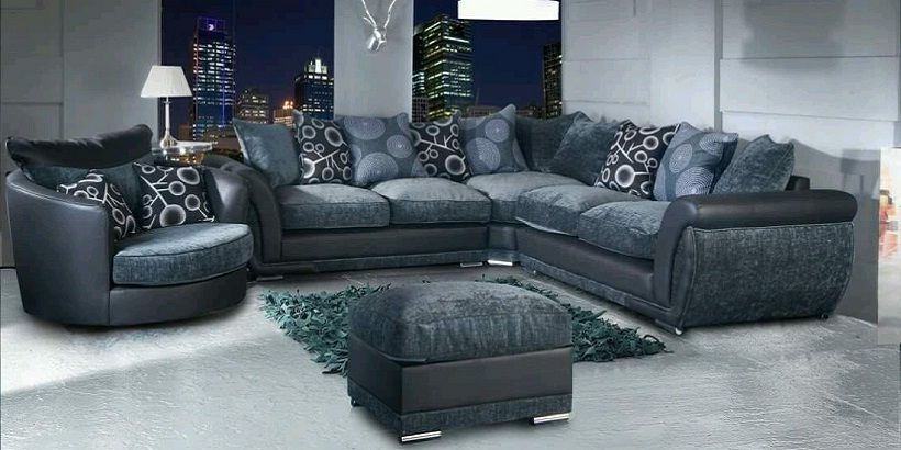 Grey Corner Sofa With Swivel Chair