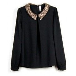 Vintage Sequined Black Chiffon Long-sleeved Shirt Collar.1 - this (or something similar) would be perfect for christmas: gotta have some sparkle on you! :)