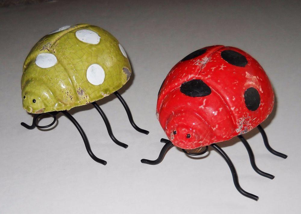 Ladybug Garden Decor Table Indoor Lucky Green Red Christmas Stone Metal Lg  New