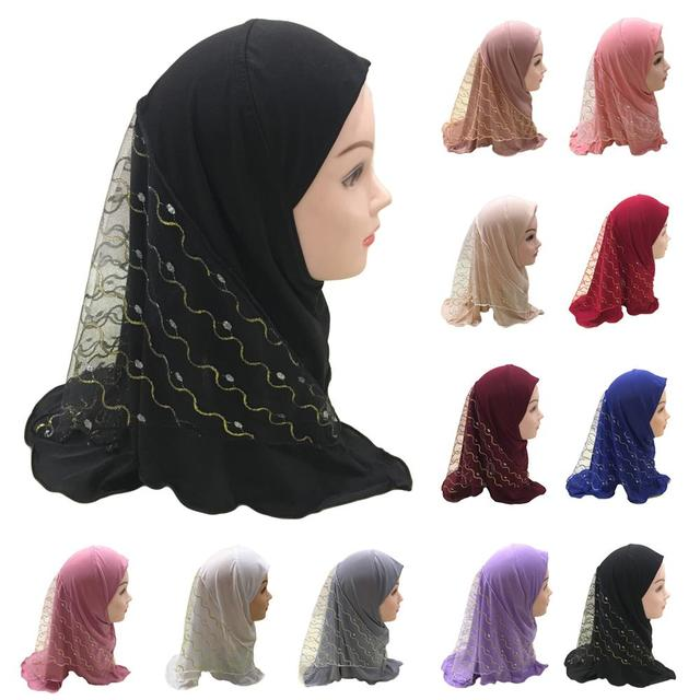 One Piece Amira Hijab Muslim Kids Girls Mesh Hat Headscarf Shawl Wrap Islamic Prayer Hat Ramadan Cover Headwear Cap Middle East