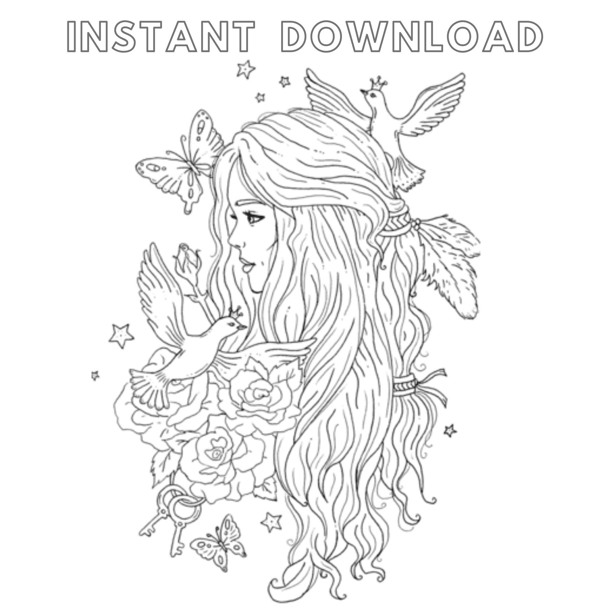 Princess Coloring Pages Coloriage Digital Downloadable By Tshirtsup On Etsy Princess Coloring Pages Princess Coloring Coloring Pages