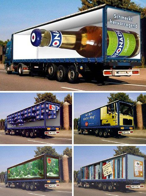 some great examples of anamorphic illusions used as creative truck side advertising total. Black Bedroom Furniture Sets. Home Design Ideas