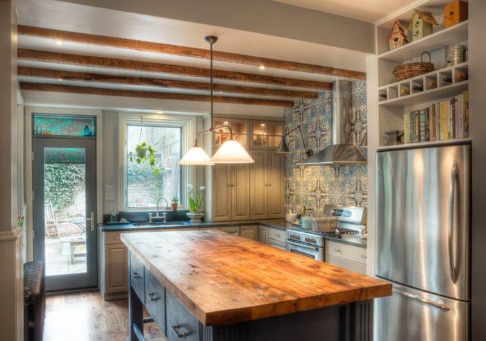 Cocinas americanas cocina en estilo industrial con techo for Barra estilo industrial