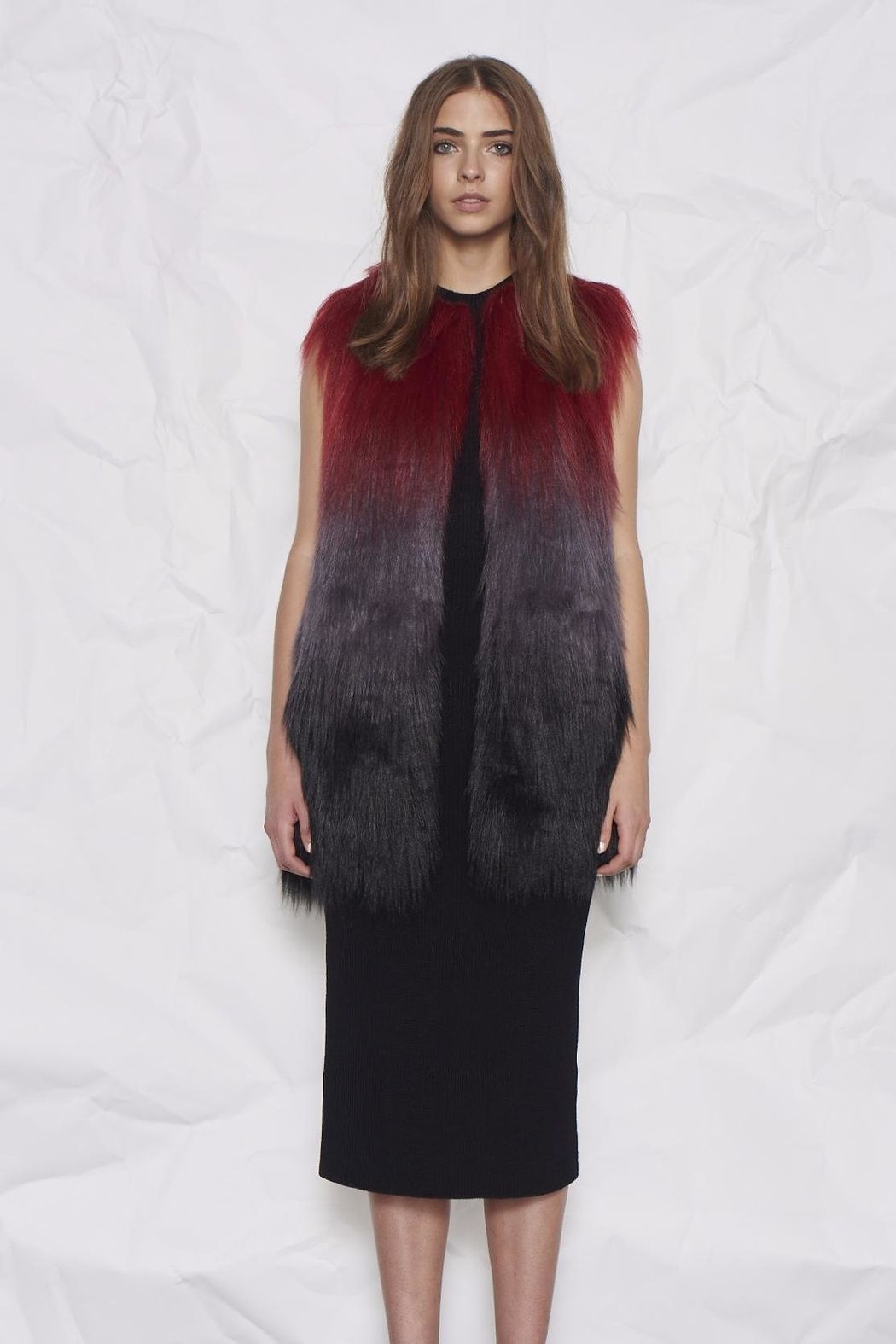 Mercury rising statement vest is a beautiful ombre long pile fur in