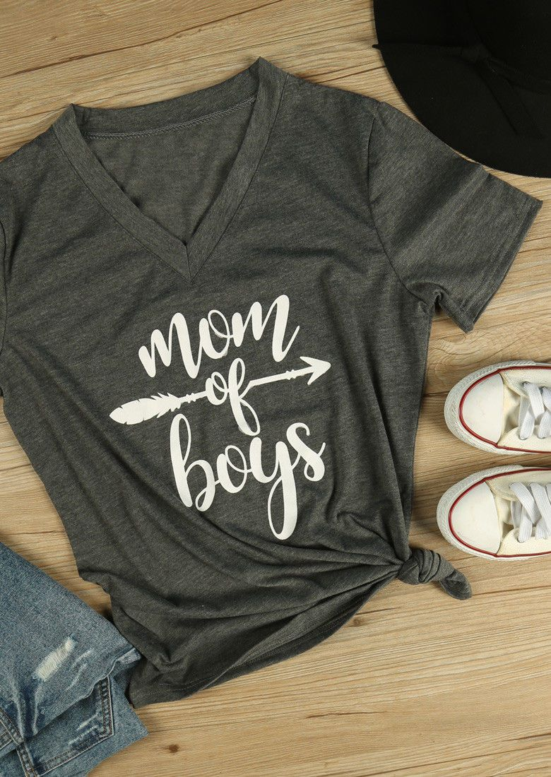 0d2a2aac7 Mom Of Boys Blouse Jumper Lettera Arrow Printed Tee Ladies Fashion T-Shirt  Tops