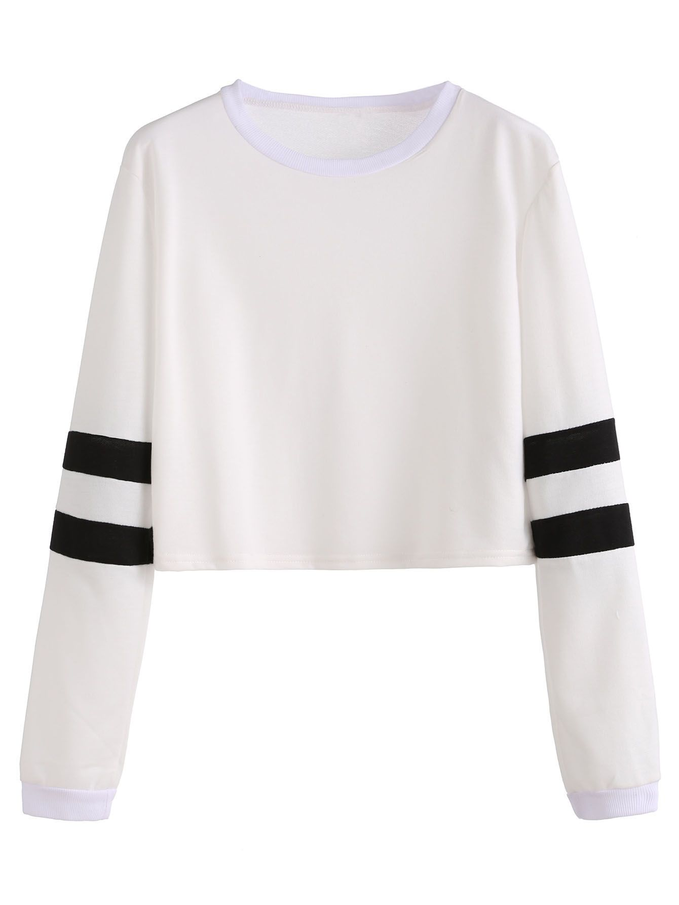 2b2de464edfa White Varsity Striped Sleeve Crop T-shirt