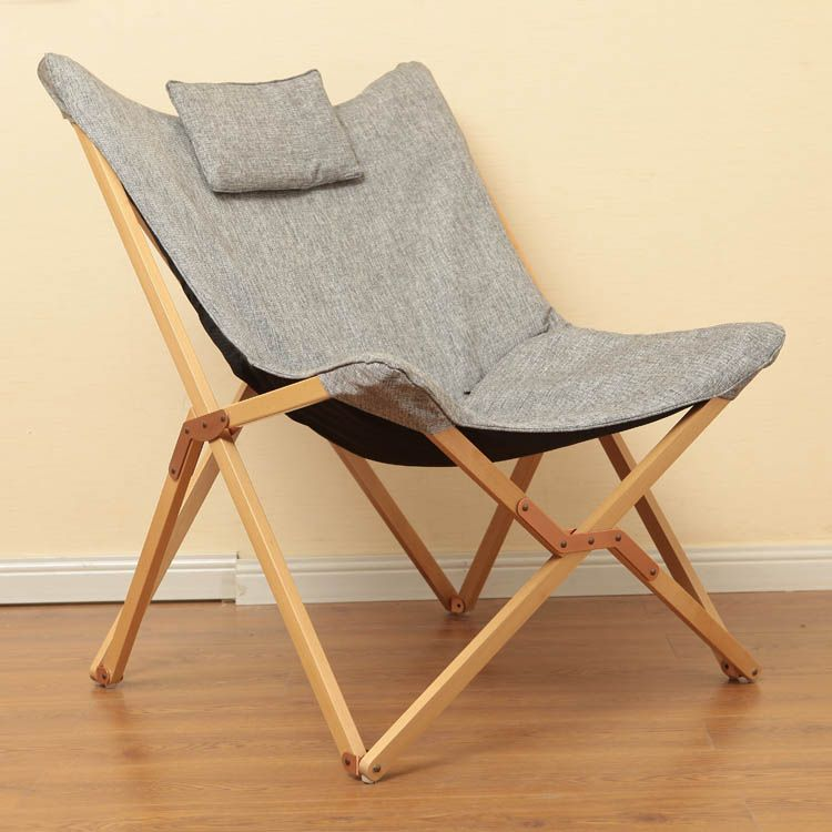 Modern Folding Butterfly Chair Portable Solid Wood Outdoor
