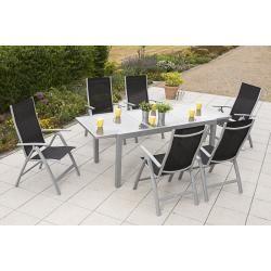 Photo of 7 pieces Carrara set black, 6 Carrara folding armchairs, 1 extending table, 160 (220) x … MerxxMerxx