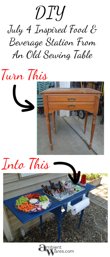 DIY ~ Upcycled Repurposed Sewing Table To Drink Station ~ Ambient Wares.  Repurposed FurnitureRepurposed ...