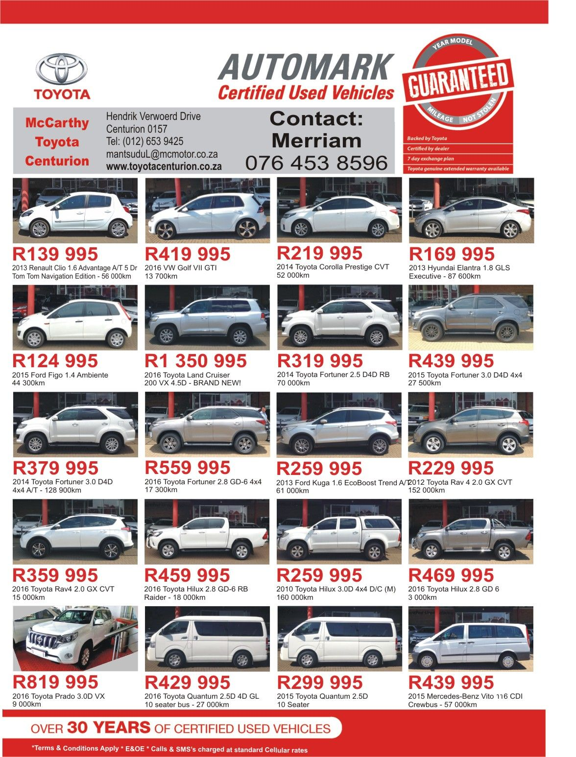 dont miss out mccarthy toyota centurion for amazing deals over 30 years of certified used vehicles call us now for more information and prices