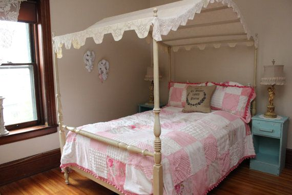 Vintage Canopy Full Bed Frame Shabby Chic Crochet Topper Cottage Bedroom Ethan Allen