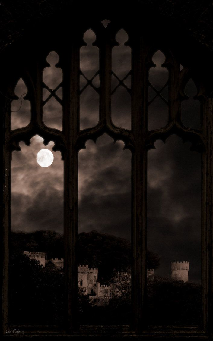 gothic arched windows with view of castle by sad fantasy. Black Bedroom Furniture Sets. Home Design Ideas
