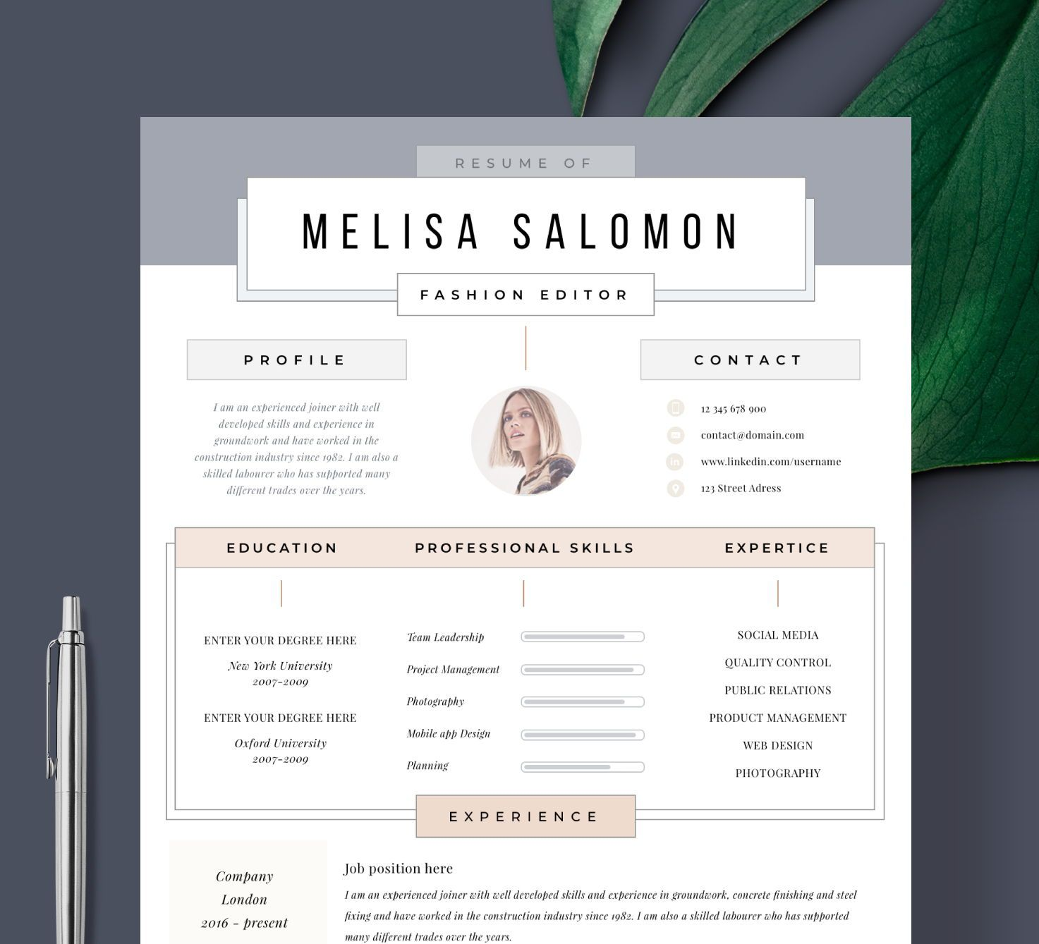 Creative Resume Template For Word Pages Creative Cv Template Etsy Creative Cv Template Creative Resume Templates Creative Cv