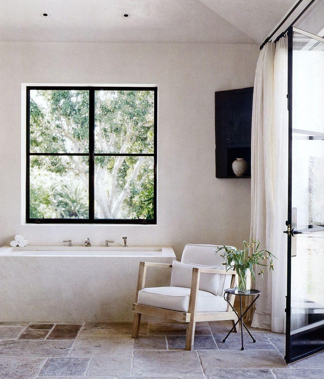 Rustic Bathroom Black Window Frames House Interior Home