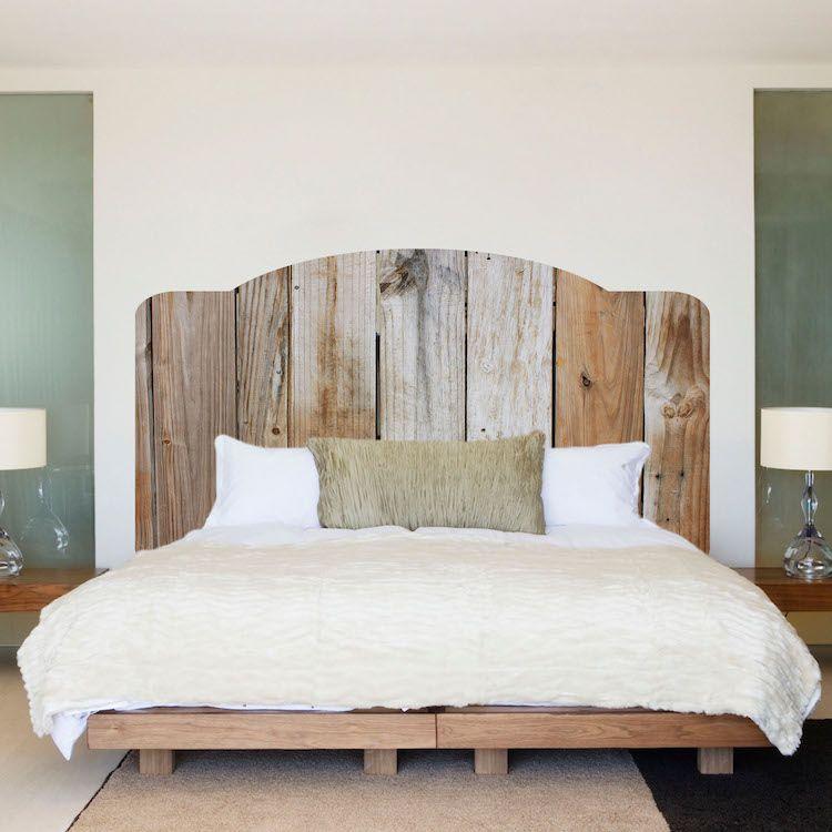 Rustic Wooden Headboard Mural Decal - Headboard Wall Decal Murals ...