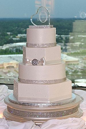 18 Inch Champagne Gold Diamond Wedding Cake Stand