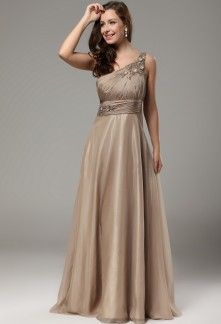 Robe longue couleur taupe