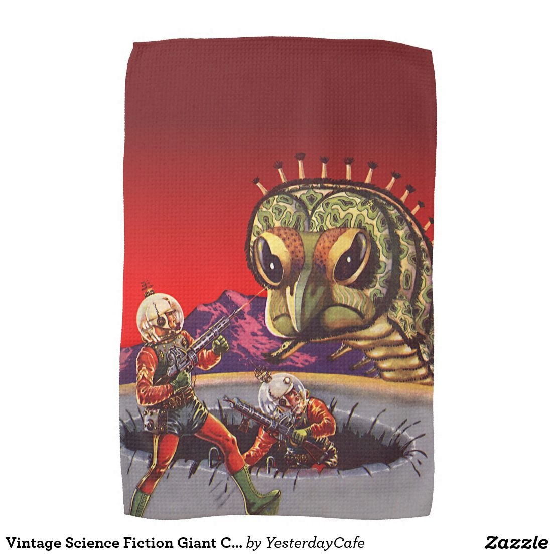 Vintage Science Fiction Giant Centipede Insect War Tea Towel Zazzle Co Uk Retro Comic Book Science Fiction Retro Comic