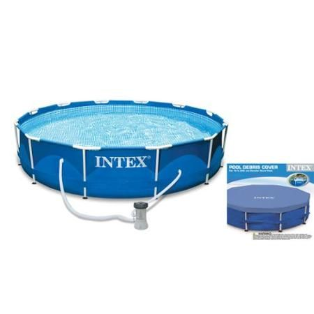 Intex 10 39 x 30 metal frame set swimming pool with filter pump debris cover for Swimming pool supplies walmart