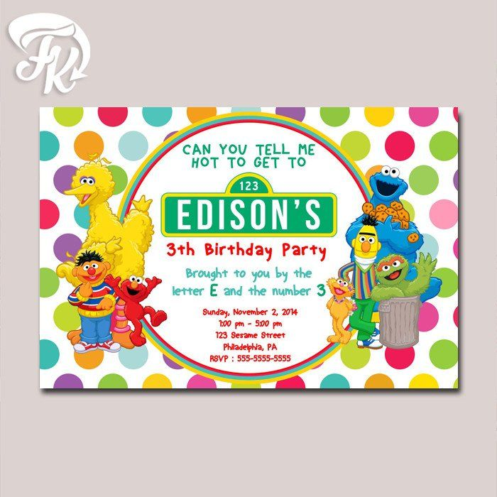 Sesame street polkadot birthday card party digital invitation kid sesame street polkadot birthday card party digital invitation kid birthday party bookmarktalkfo Images