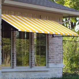 Awntech 64 5 In Wide X 48 In Projection Yellow White Stripe Open Slope Door Awnings Windows And Doors Awning