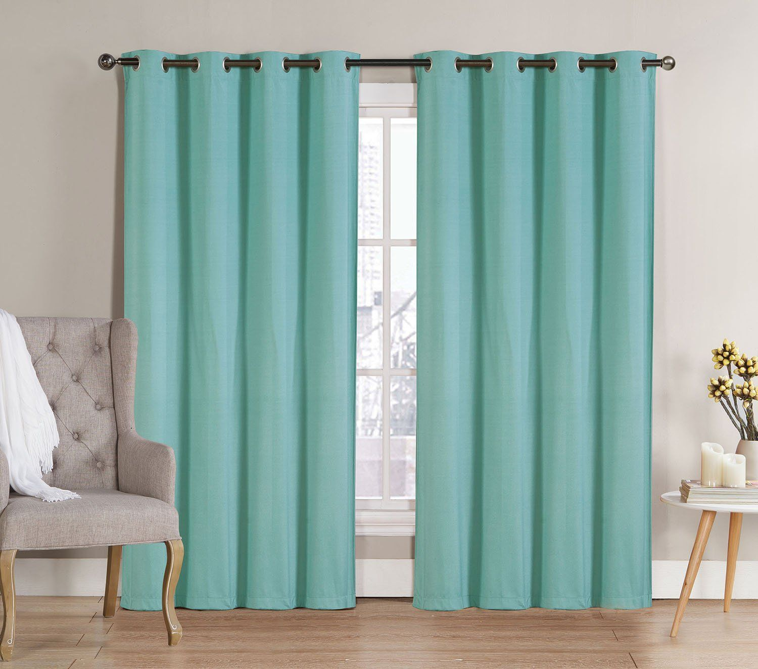 Me Nicole Solid Thermal Insulated Blackout Window Curtain Panels Pair 90 Inch Long Aqua Blue