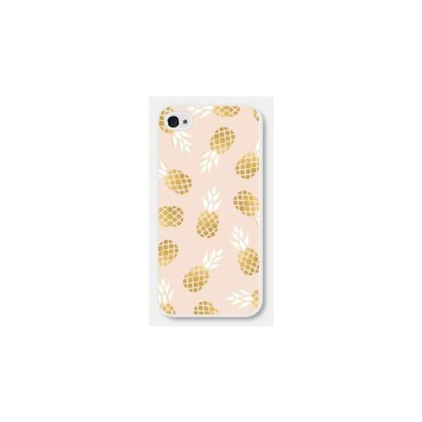 iPhone 5 Case iPhone 6 Case Pink and Gold Pineapple Gold iPhone 5 Case... ❤ liked on Polyvore featuring accessories, tech accessories, pink iphone case, iphone cover case, gold iphone case, apple iphone cases and iphone cases