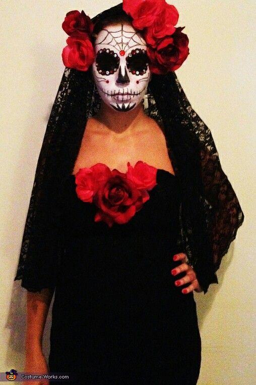 nice and easy diy idea for halloween dia de los muertos rh pinterest com halloween costume homemade ideas adults halloween simple ideas