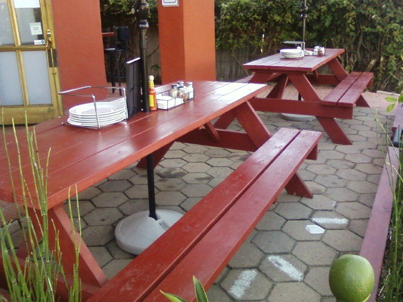 8ft Redwood Picnic Tables With Exterior Redwood Latex Stain, For A Pizza  Restaurant In Encinitas