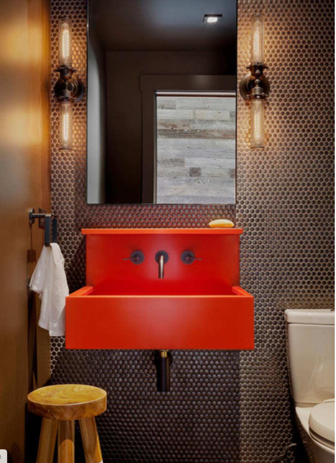 Houzz Red Sink And Penny Tile Powder Room In 2020 Seattle