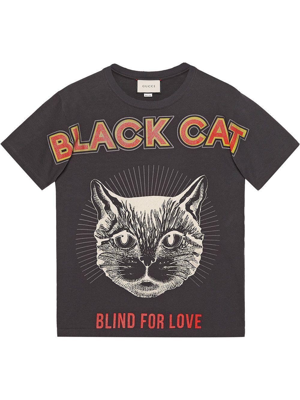 1ec6ceed Gucci Black Cat print T-shirt | Tee in 2019 | Gucci men, Mens ...