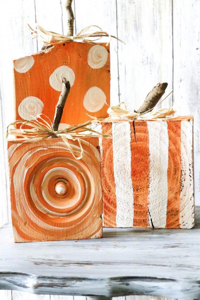 DIY Scrap Wood Pumpkins by ReFabbed Fall and Halloween