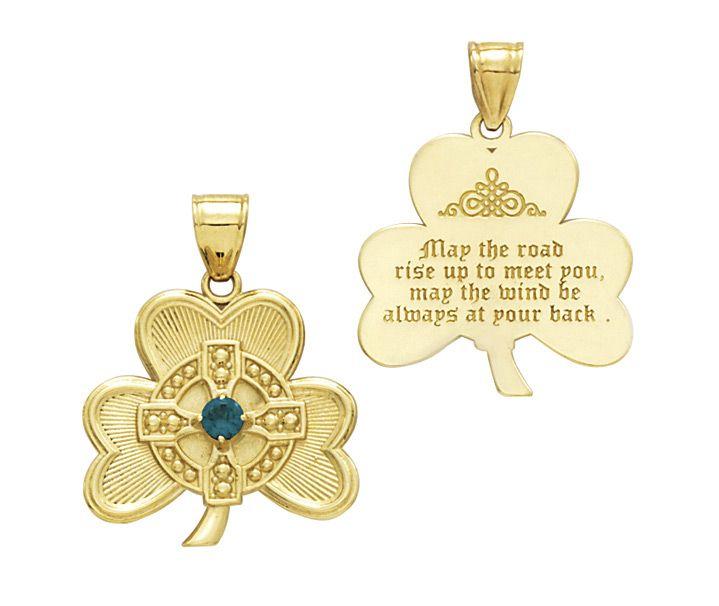 14k gold shamrock pendant wgreen cz crystal and irish blessing 14k gold shamrock pendant wgreen cz crystal and irish blessing aloadofball Images