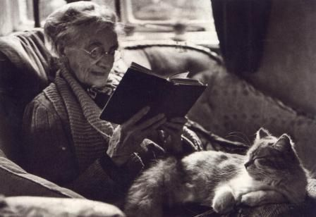 Image result for old woman and cat reading
