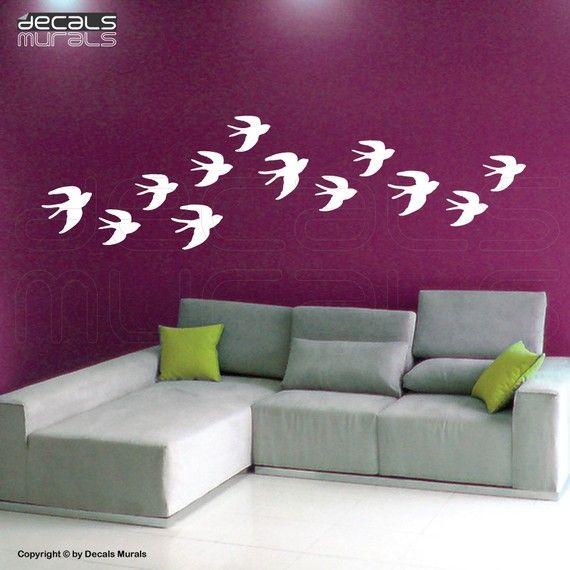 He encontrado este interesante anuncio de Etsy en https://www.etsy.com/es/listing/64852373/wall-decals-flock-of-birds-swallow-wall