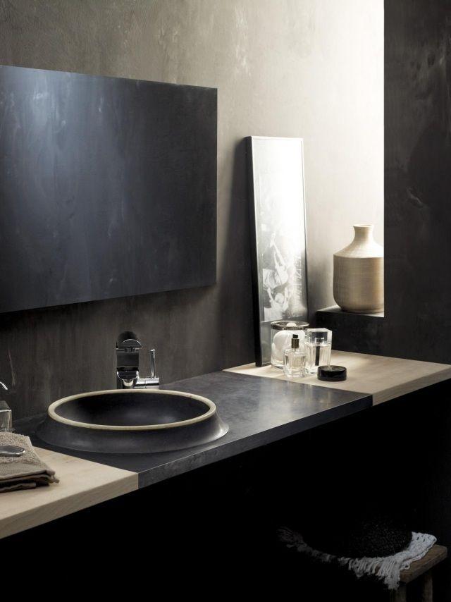 Moderne Waschtische moderner waschtisch rundes waschbecken naturstein grau vulka bathco