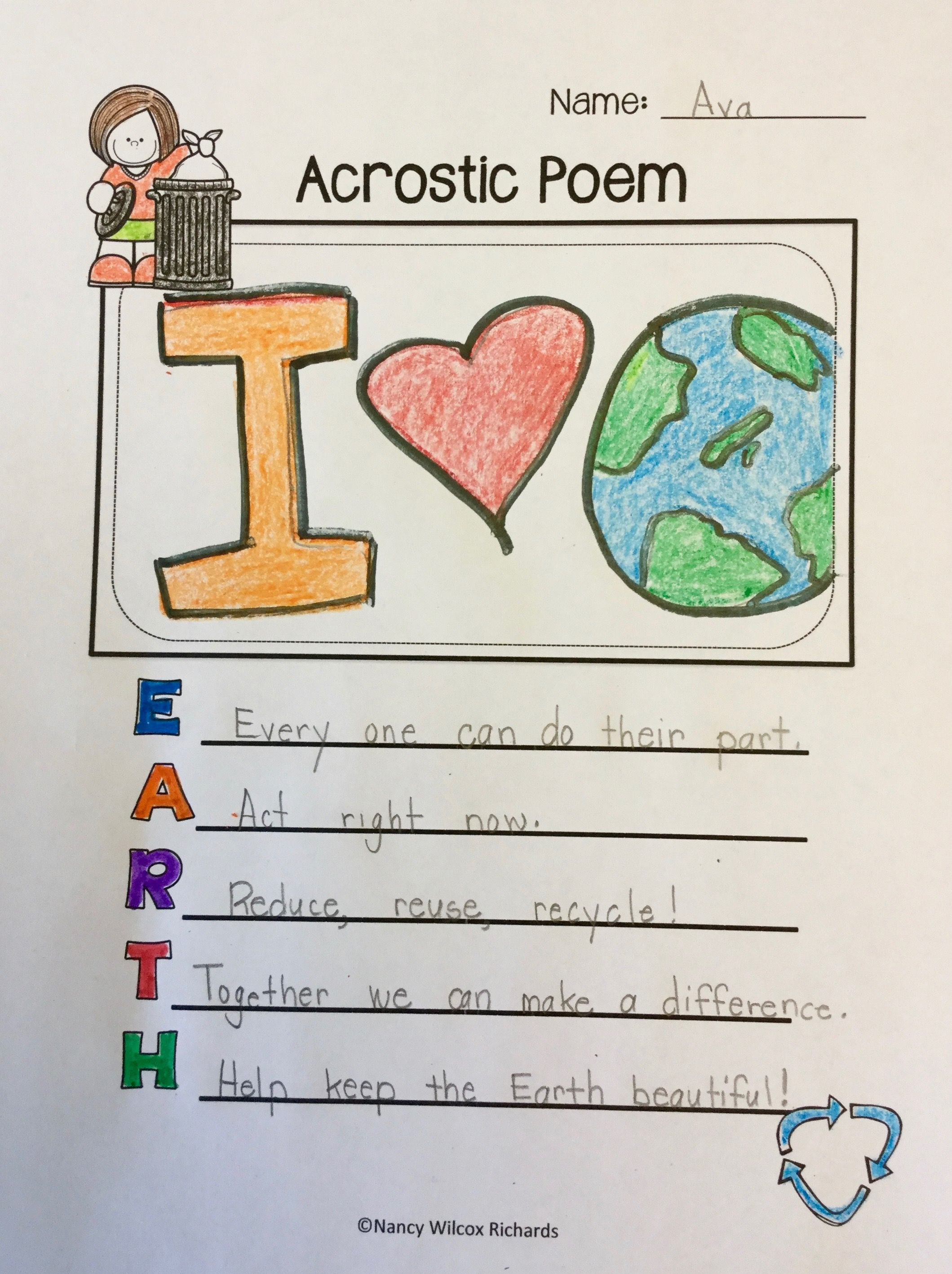 Earth Day Acrostic Poem Examples