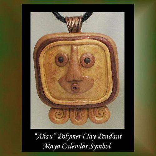 Ahau Maya Sun Symbol Polymer Clay Pendant Ooak Wearable Art Mayan