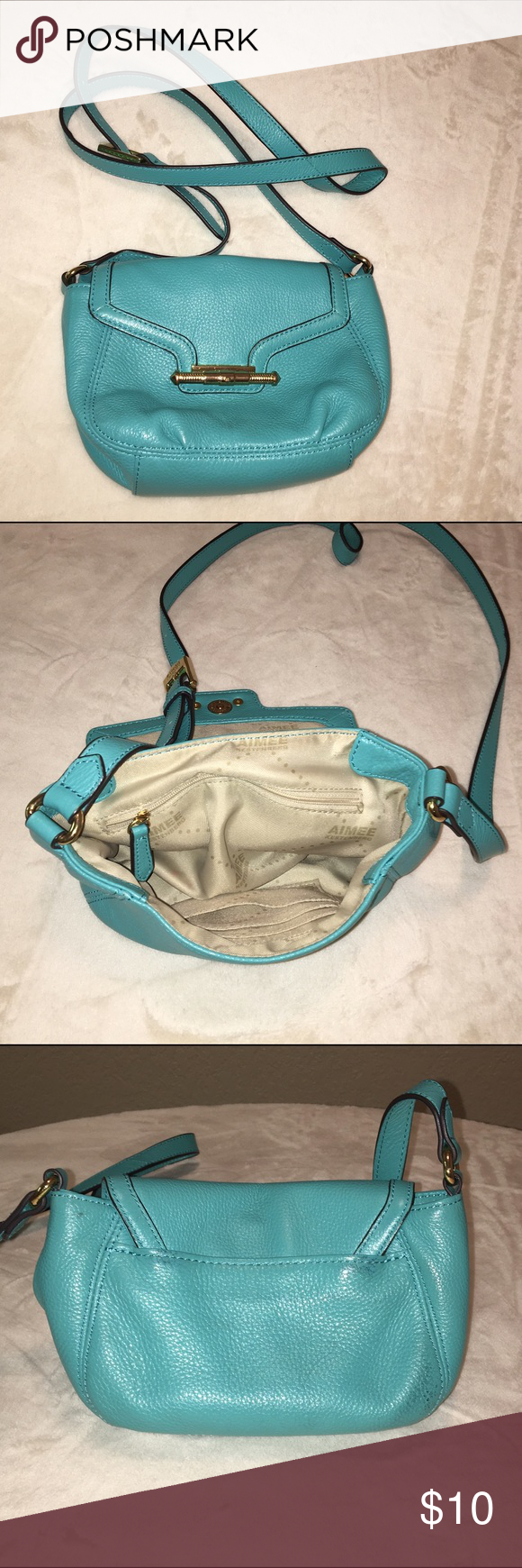 Final Price! Turquoise and Gold Crossbody Perfect for summer. In superb condition. Gold accents. Small but fits quite a lot. Bags Crossbody Bags